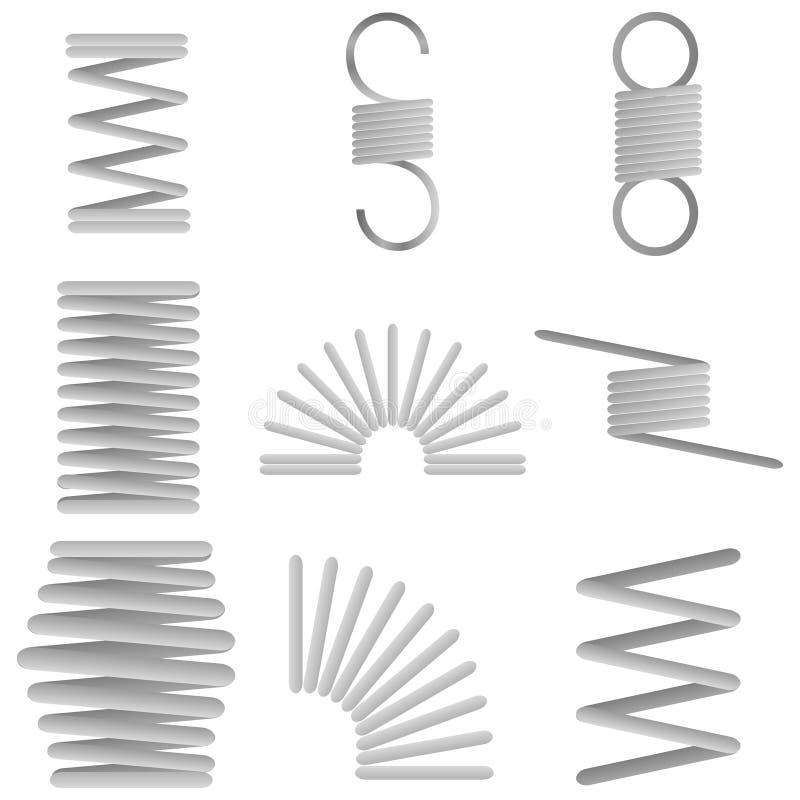 Σπειροειδή ελατήρια μετάλλων διανυσματική απεικόνιση
