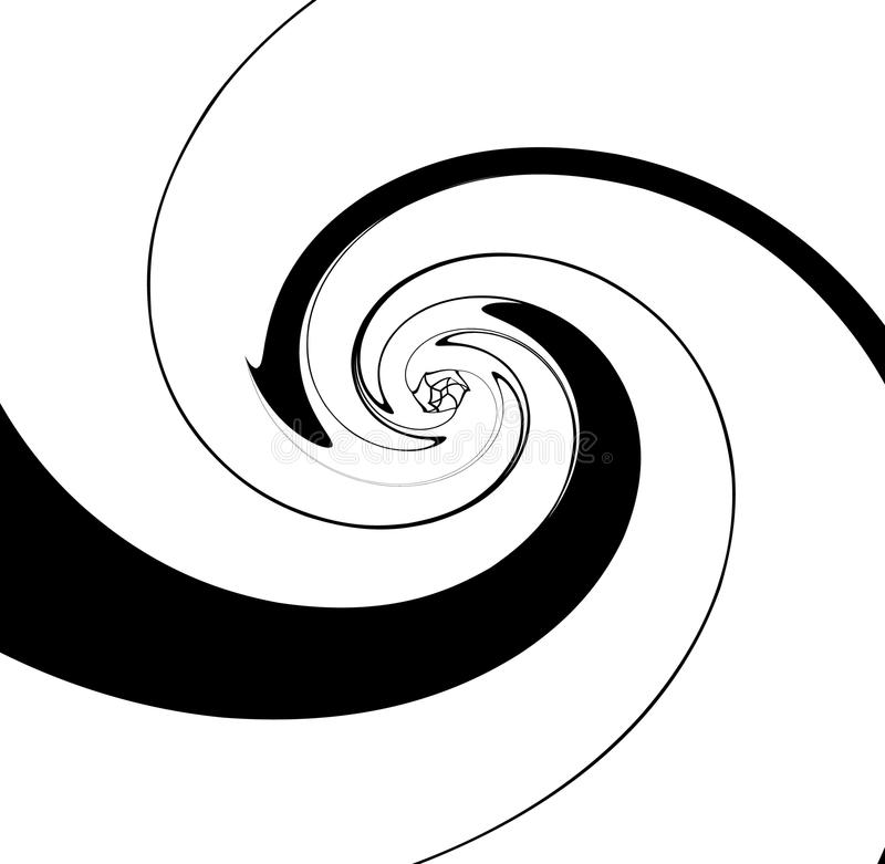 Σπειρωειδώς γεωμετρική εικόνα Αφηρημένη μονοχρωματική τέχνη με ακτινωτό, ρ ελεύθερη απεικόνιση δικαιώματος