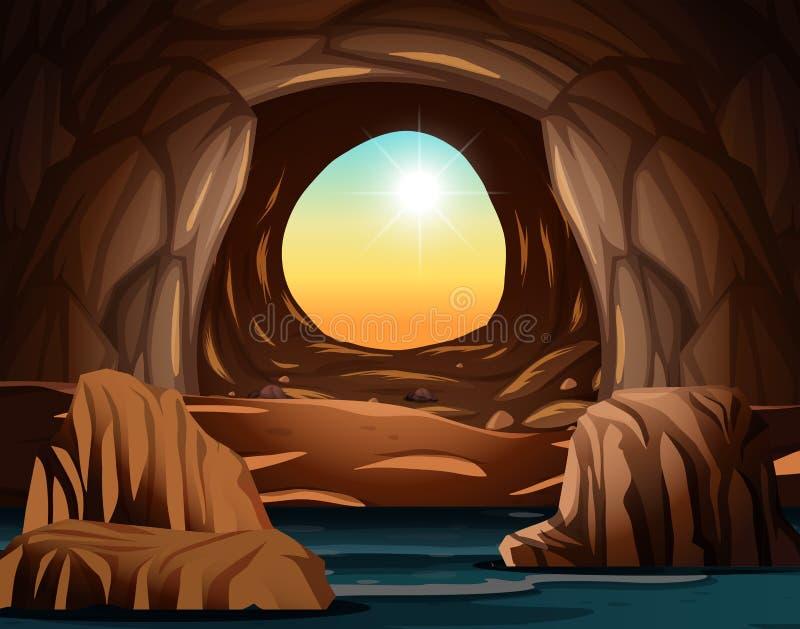 Σπηλιά με το άνοιγμα φωτός του ήλιου απεικόνιση αποθεμάτων