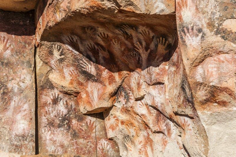 Σπηλιά των χεριών - έργα ζωγραφικής των αρχαίων ανθρώπων, Αργεντινή στοκ εικόνες