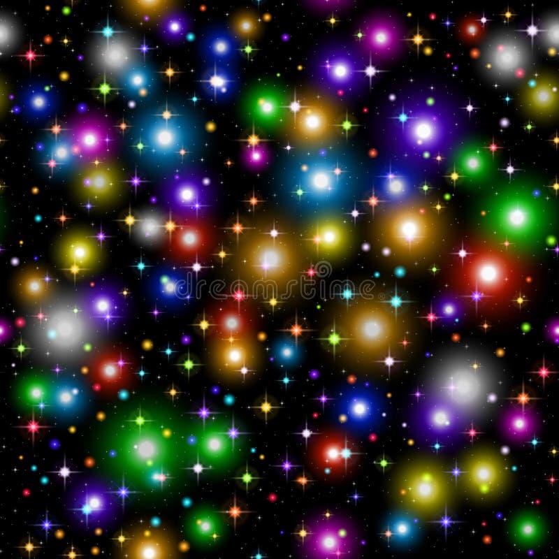 Σπινθήρες και αστέρια σε μαύρο, άνευ ραφής διανυσματική απεικόνιση