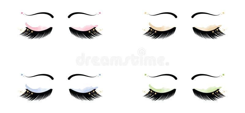 Σπινθήρισμα Eyelashes με τα φρύδια και τη σκιά ματιών απεικόνιση αποθεμάτων