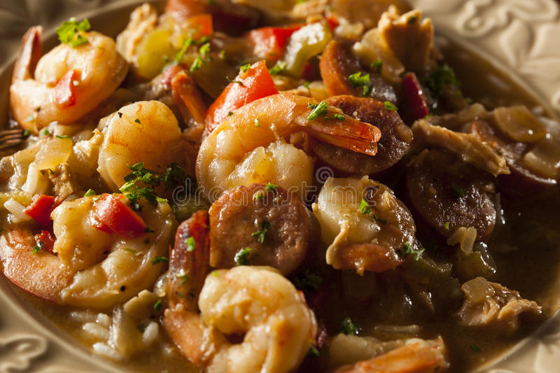 Σπιτικά γαρίδες και λουκάνικο Cajun Gumbo στοκ φωτογραφία