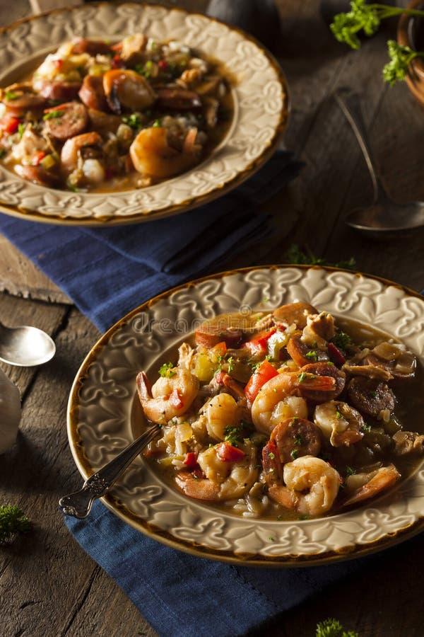 Σπιτικά γαρίδες και λουκάνικο Cajun Gumbo στοκ εικόνες με δικαίωμα ελεύθερης χρήσης
