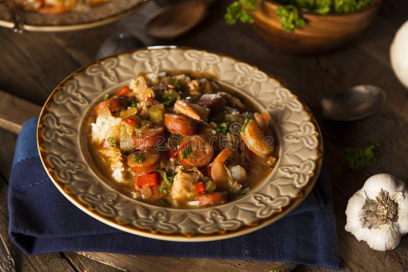 Σπιτικά γαρίδες και λουκάνικο Cajun Gumbo στοκ εικόνα με δικαίωμα ελεύθερης χρήσης