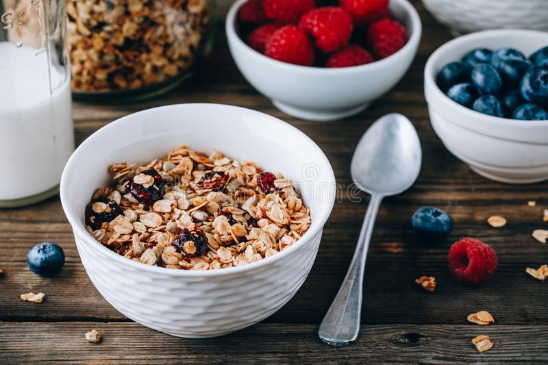 Σπιτικά δημητριακά granola με τις βρώμες και τα καρύδια και τα ξηρά τα βακκίνια Υγιές πρόγευμα με το γάλα και τα μούρα στοκ φωτογραφία με δικαίωμα ελεύθερης χρήσης