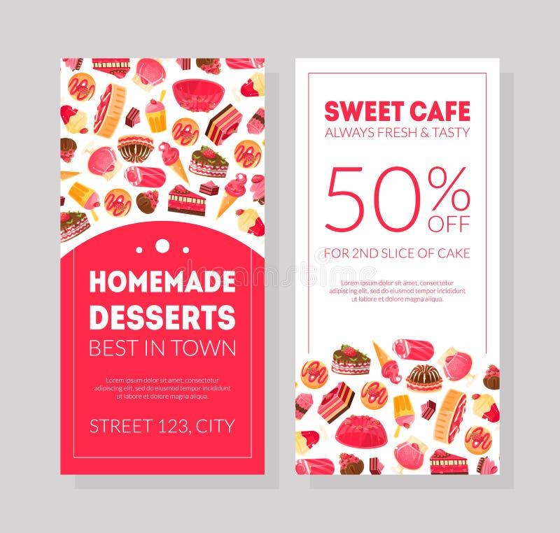 Σπιτικά επιδόρπια καλύτερα καλύτερα στο έμβλημα πώλησης καφέδων πόλης γλυκών ή το πρότυπο καρτών, αρτοποιείο, βιομηχανία ζαχαρωδώ απεικόνιση αποθεμάτων
