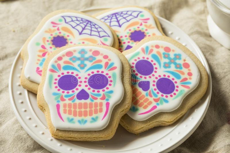 Σπιτικά μεξικάνικα μπισκότα κρανίων ζάχαρης στοκ φωτογραφία με δικαίωμα ελεύθερης χρήσης