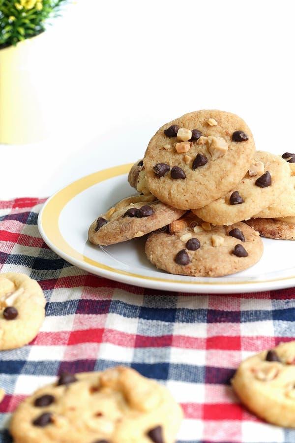 Σπιτικά μπισκότα και καρύδι τσιπ σοκολάτας στοκ εικόνες με δικαίωμα ελεύθερης χρήσης