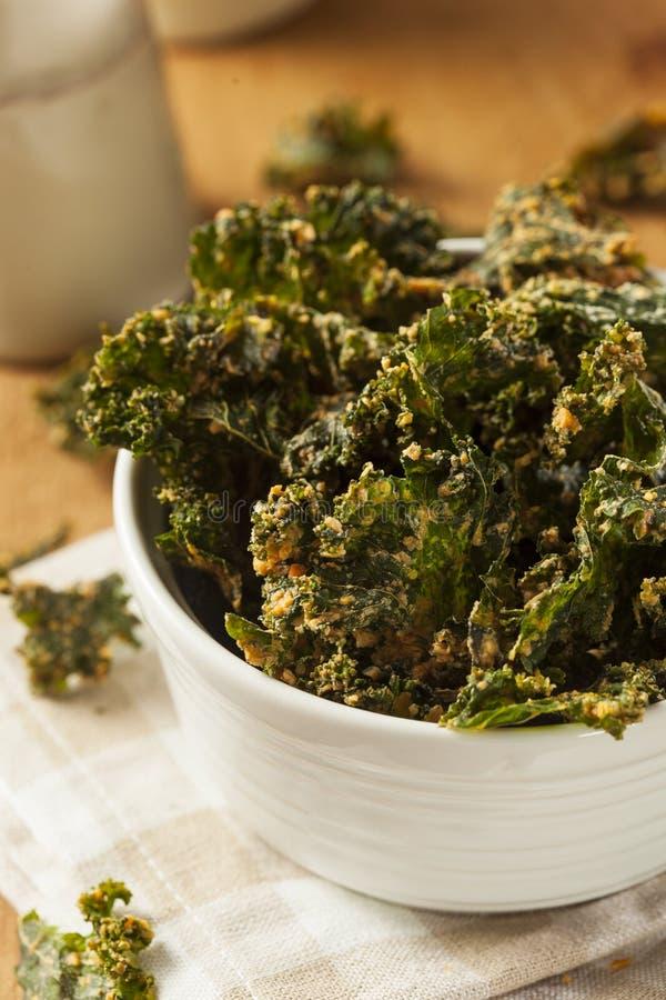 Σπιτικά πράσινα τσιπ του Kale στοκ εικόνες με δικαίωμα ελεύθερης χρήσης