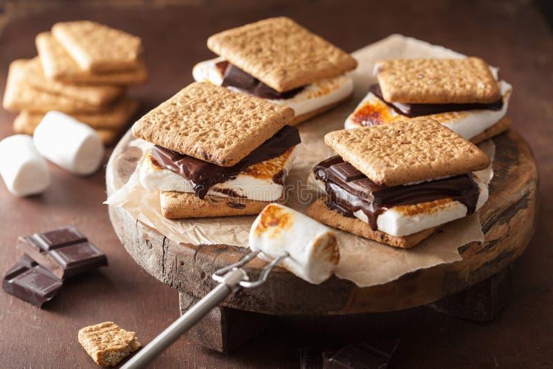 Σπιτικά marshmallow s ` ήθη και έθιμα με τη σοκολάτα στις κροτίδες στοκ φωτογραφία με δικαίωμα ελεύθερης χρήσης