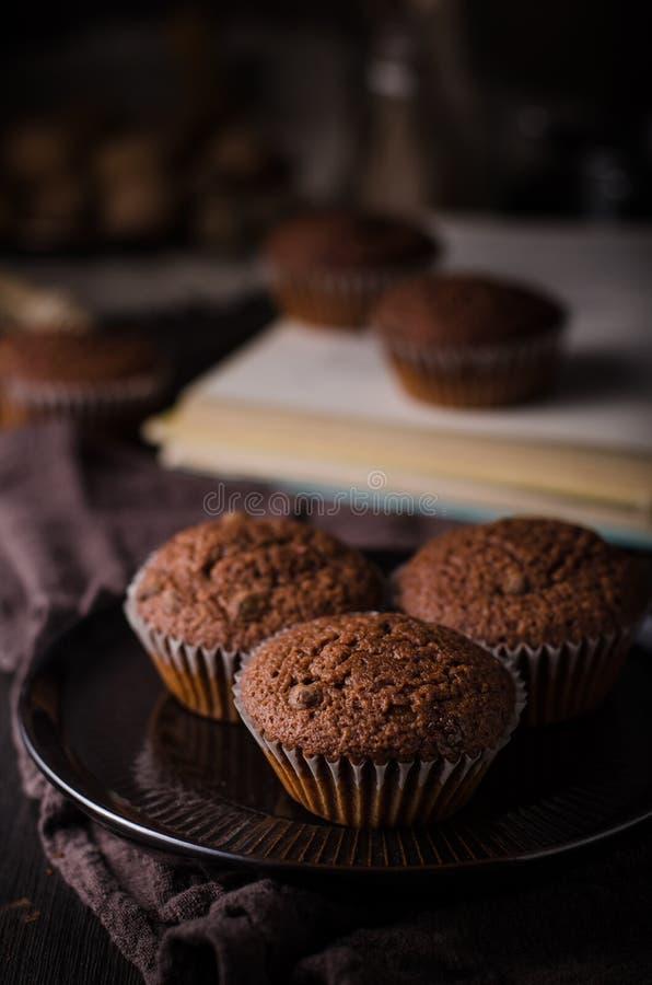 Σπιτικά muffins σοκολάτας με το κάλυμμα σοκολάτας στοκ φωτογραφία με δικαίωμα ελεύθερης χρήσης