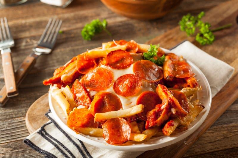 Σπιτικές Pepperoni και τηγανιτές πατάτες πιτσών τυριών στοκ φωτογραφία με δικαίωμα ελεύθερης χρήσης