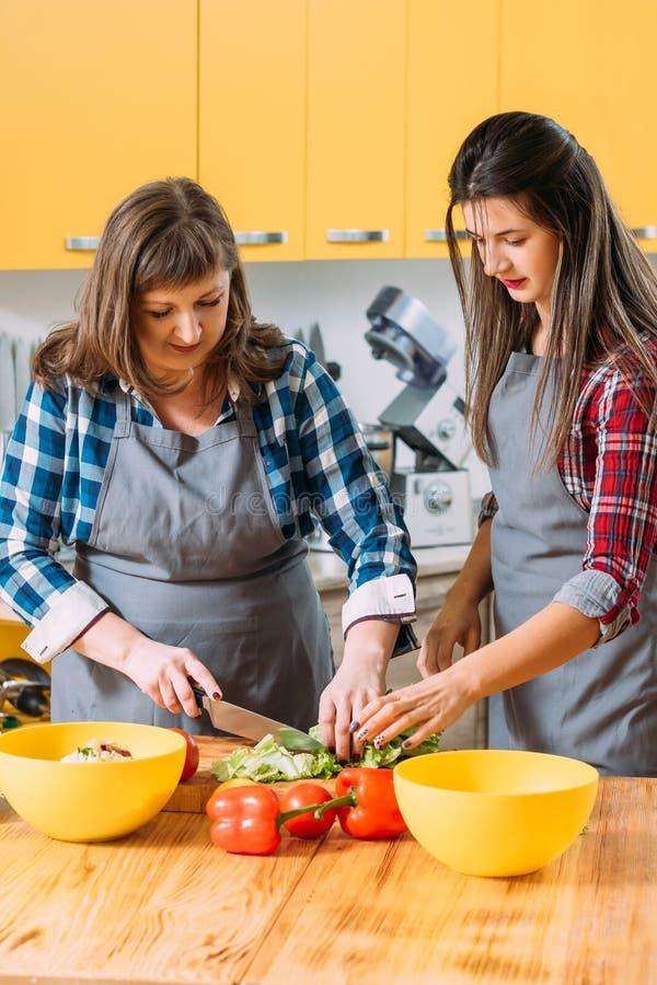 Σπιτική διδασκαλία εκμάθησης τροφίμων που κατασκευάζει τη σαλάτα στοκ εικόνα με δικαίωμα ελεύθερης χρήσης
