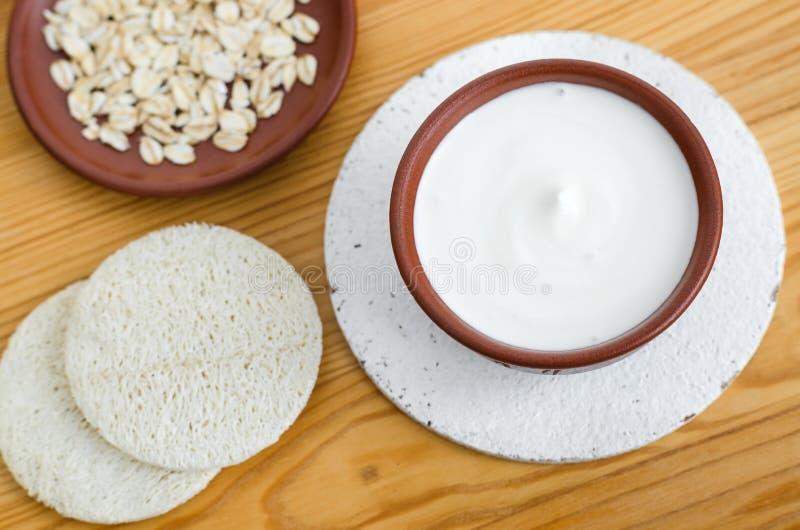 Σπιτική μάσκα φιαγμένη από ξινά ελληνικά γιαούρτι και oatmeal κρέμας Καλλυντικά Diy στοκ φωτογραφία με δικαίωμα ελεύθερης χρήσης