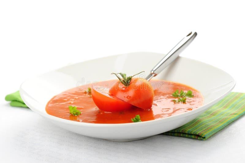 σπιτική ντομάτα σούπας στοκ φωτογραφία