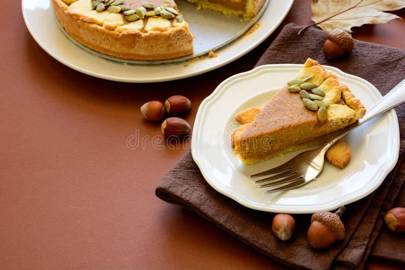 Σπιτική πίτα κολοκύθας με την κανέλα στο υπόβαθρο καφετιού εγγράφου στοκ εικόνα με δικαίωμα ελεύθερης χρήσης