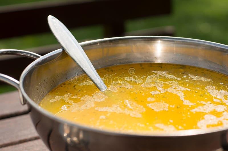 Σπιτική σούπα στο δοχείο μετάλλων στοκ φωτογραφία με δικαίωμα ελεύθερης χρήσης