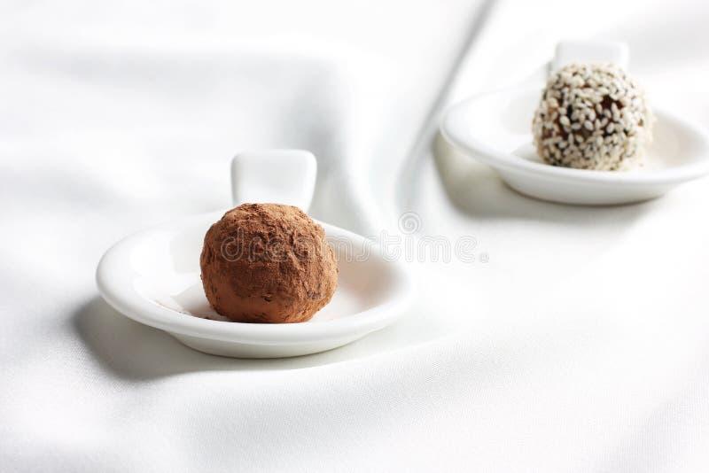 Σπιτική υγιής ακατέργαστη τρούφα καραμελών με το σουσάμι και τη σοκολάτα στοκ εικόνες με δικαίωμα ελεύθερης χρήσης