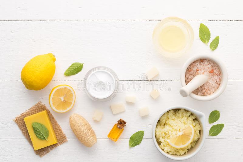 Σπιτική φροντίδα δέρματος και προσοχή σωμάτων με το φυσικό άλας συστατικών, στοκ εικόνες