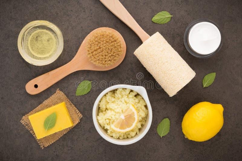 Σπιτική φροντίδα δέρματος και προσοχή σωμάτων με το φυσικό άλας συστατικών, στοκ εικόνες με δικαίωμα ελεύθερης χρήσης