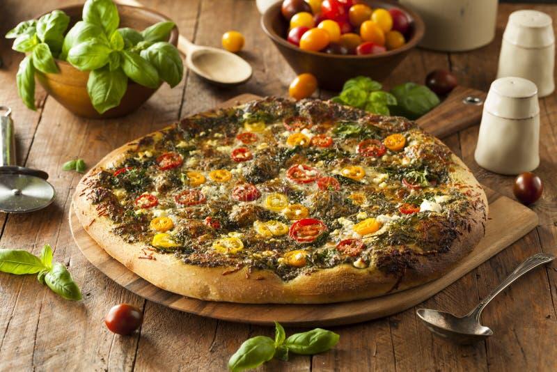 Σπιτική ψημένη στη σχάρα πίτσα Pesto στοκ φωτογραφίες