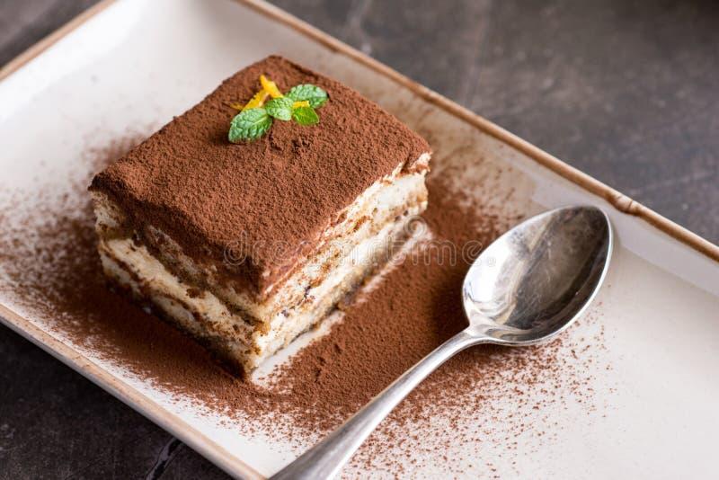 Σπιτικό επιδόρπιο κέικ Tiramisu με το τυρί Mascarpone και τον καφέ Espresso στοκ φωτογραφία με δικαίωμα ελεύθερης χρήσης