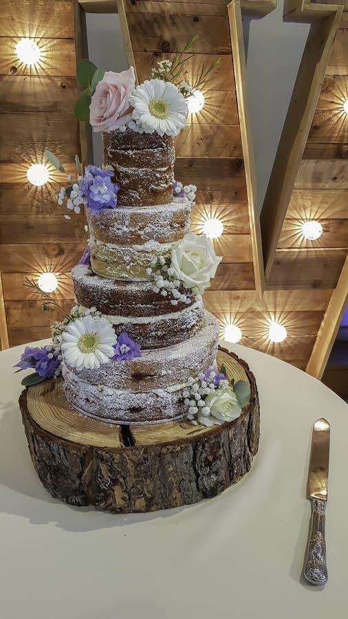 Σπιτικό ημι γυμνό γαμήλιο κέικ στοκ φωτογραφίες