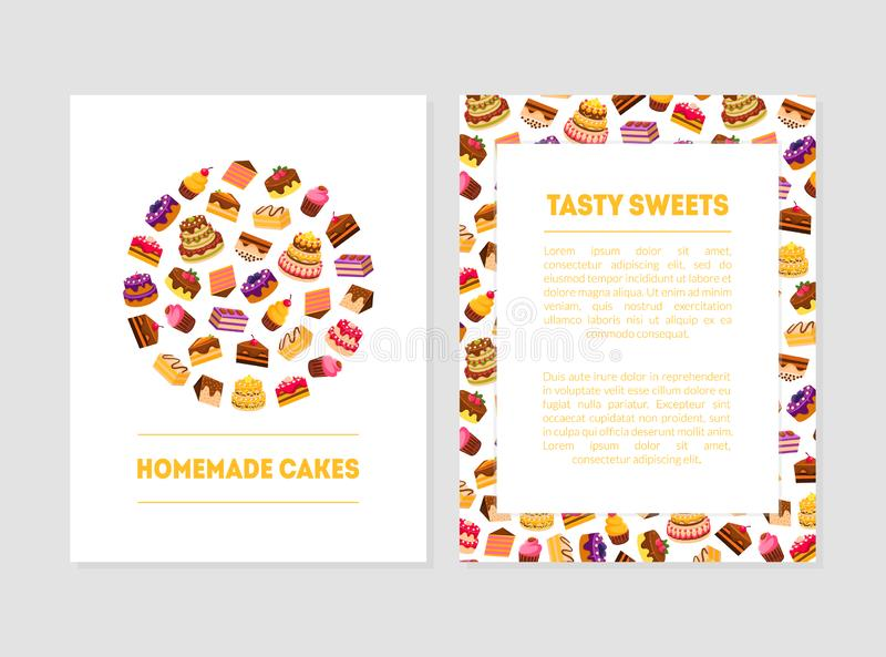 Σπιτικό κέικ, νόστιμα πρότυπα εμβλημάτων γλυκών με τα επιδόρπια και θέση για το κείμενο, αρτοποιείο, βιομηχανία ζαχαρωδών προϊόντ ελεύθερη απεικόνιση δικαιώματος