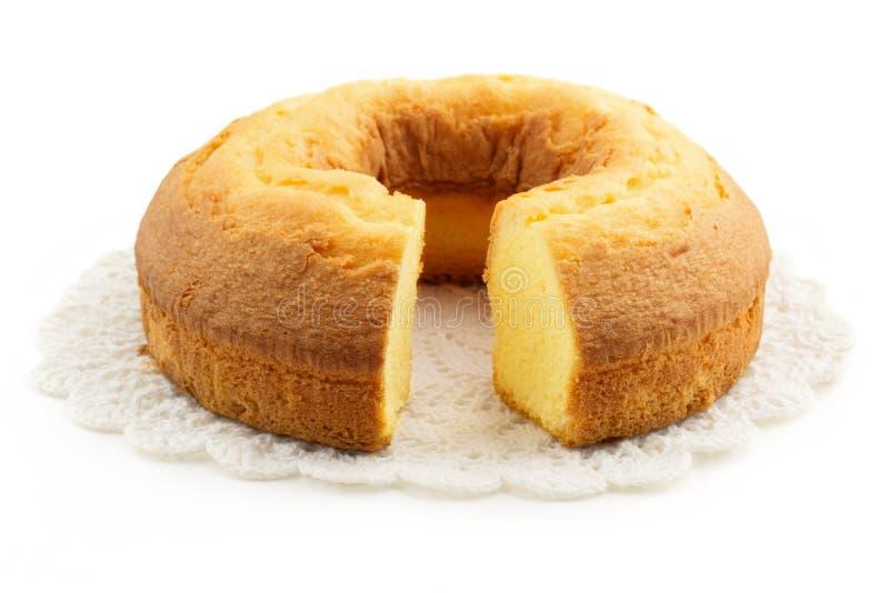 Σπιτικό κέικ πέρα από doily στοκ φωτογραφίες