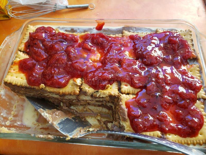 Σπιτικό κέικ πουτίγκας μπισκότων στοκ εικόνα