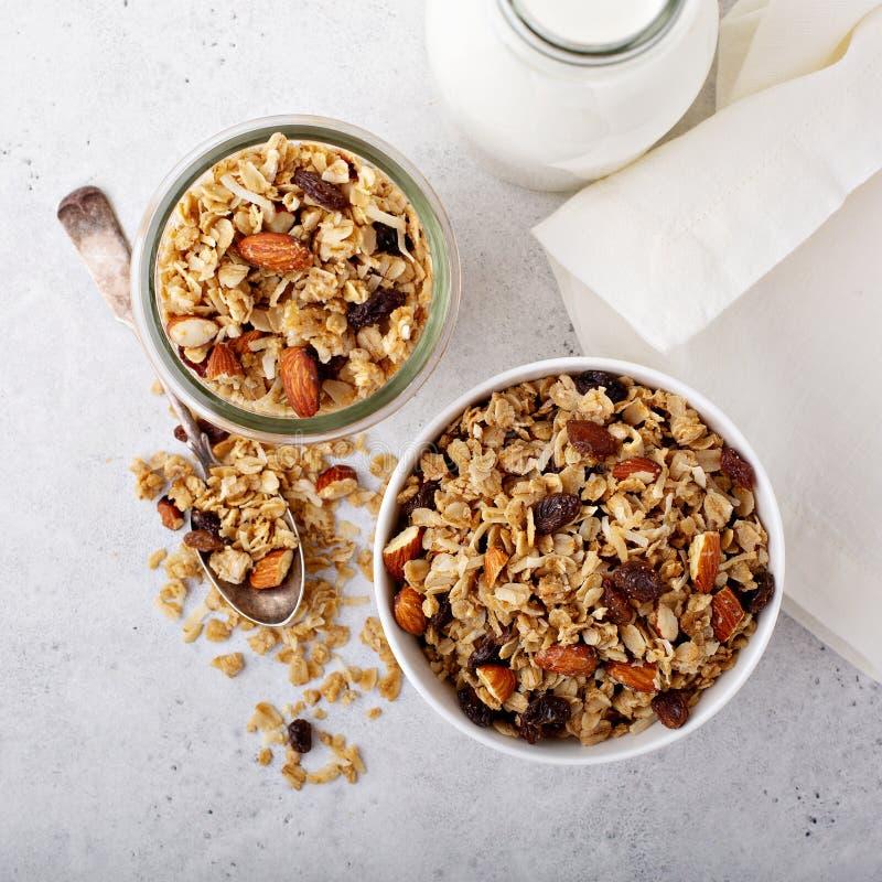 Σπιτικό granola με την καρύδα και τα αμύγδαλα στοκ φωτογραφία με δικαίωμα ελεύθερης χρήσης
