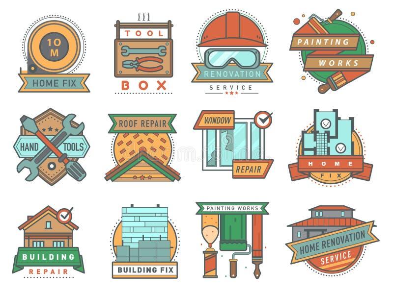 Σπιτιών και σπιτιών κτηρίου οικοδόμησης επισκευών εταιρείας υπηρεσιών διακριτικών διανυσματική ξυλουργική υπηρεσιών λογότυπων η π ελεύθερη απεικόνιση δικαιώματος