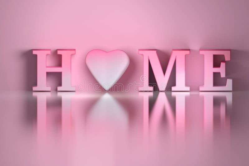 ΣΠΙΤΙ λέξης με μια ρόδινη καρδιά διανυσματική απεικόνιση