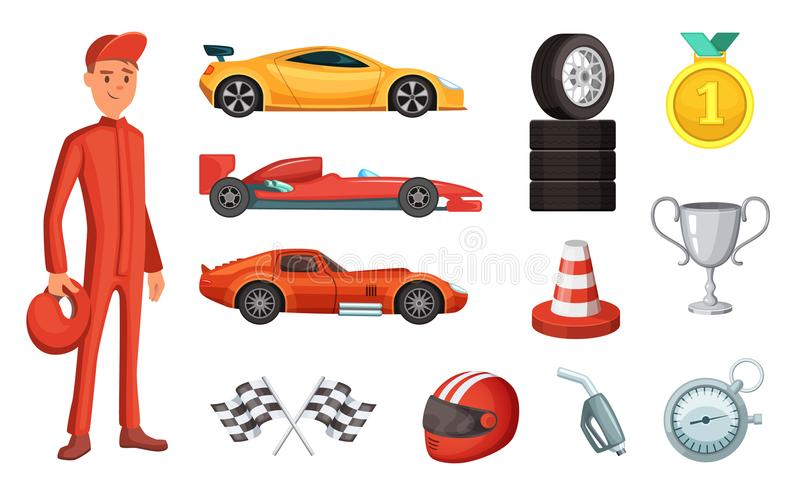Σπορ αυτοκίνητο και διαφορετικά εικονίδια αγώνα καθορισμένα Μηχανή, κράνος, μηχανή και άλλα σύμβολα τύπου διανυσματική απεικόνιση