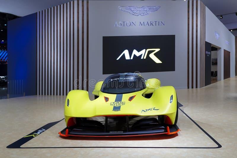 Σπορ αυτοκίνητο πολυτέλειας του Άστον Martin στην επίδειξη στη έκθεση αυτοκινήτου 2019 στοκ εικόνες