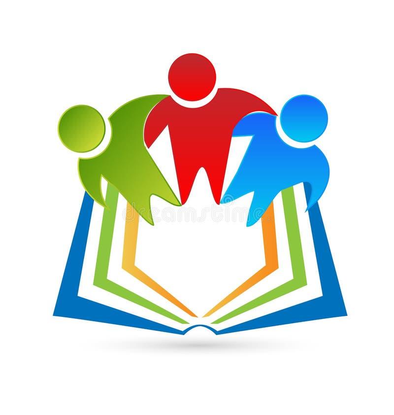 Σπουδαστές που διαβάζουν ένα βιβλίο, διάνυσμα εικονιδίων απεικόνιση αποθεμάτων