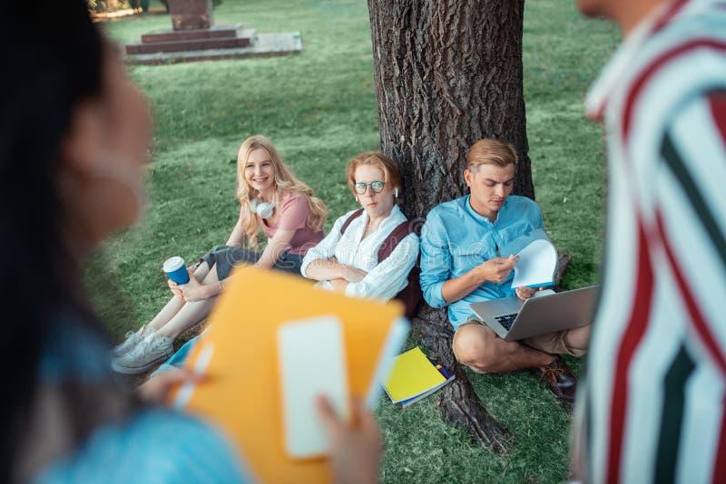 Σπουδαστές που κάνουν την εργασία τους κάτω από το μεγάλο δέντρο στοκ εικόνα