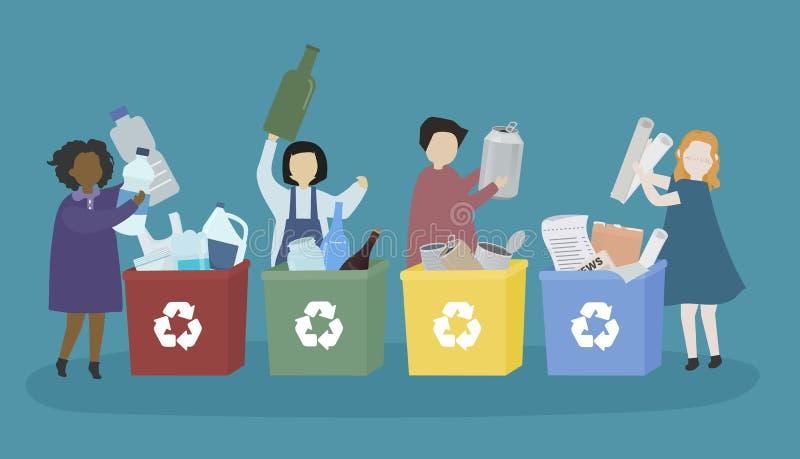 Σπουδαστές που μαθαίνουν για τα διάφορα ανακυκλώσιμα υλικά ελεύθερη απεικόνιση δικαιώματος