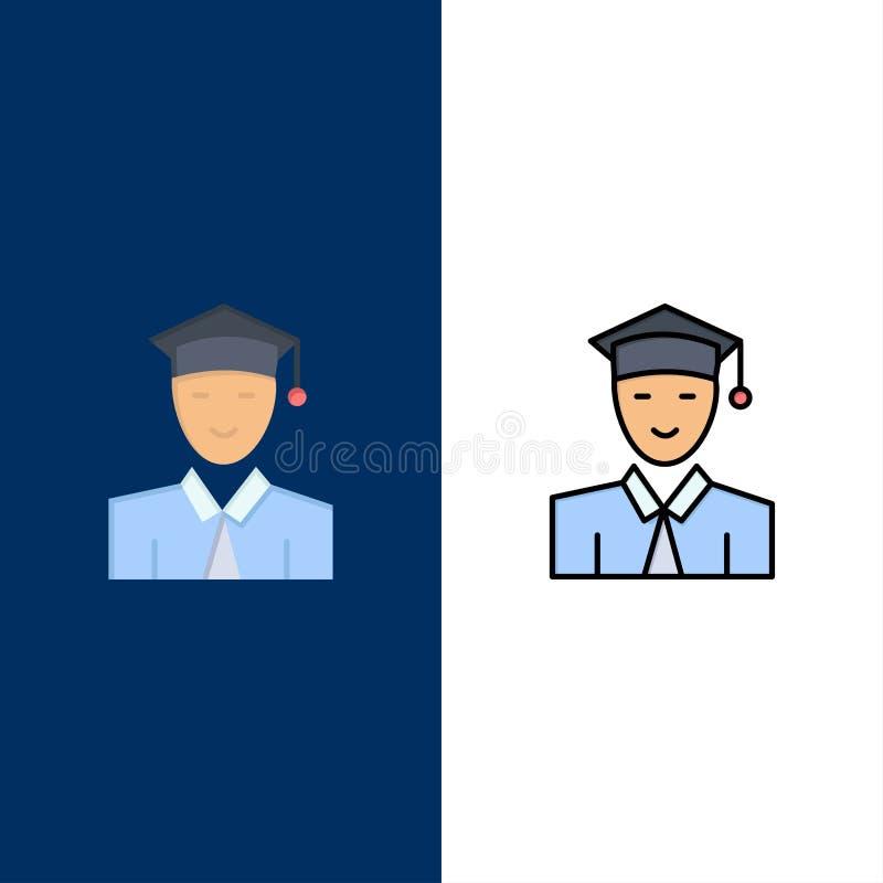 Σπουδαστής, εκπαίδευση, πτυχιούχος, εικονίδια εκμάθησης Επίπεδος και γραμμή γέμισε το καθορισμένο διανυσματικό μπλε υπόβαθρο εικο διανυσματική απεικόνιση