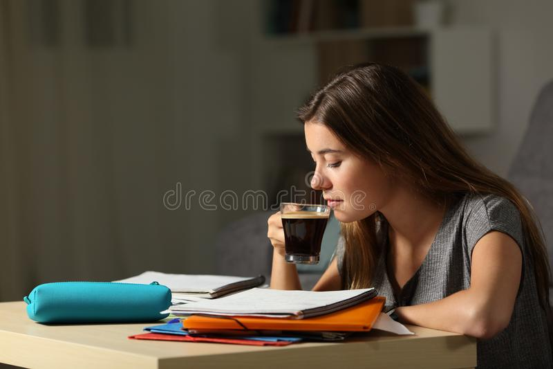 Σπουδαστής που μελετά το πρόσφατο hous καφέ κατανάλωσης στοκ φωτογραφία με δικαίωμα ελεύθερης χρήσης