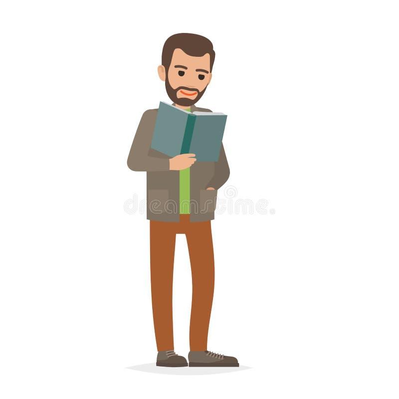 Σπουδαστής που στέκεται και που διαβάζει στο εγχειρίδιο το επίπεδο διάνυσμα ελεύθερη απεικόνιση δικαιώματος