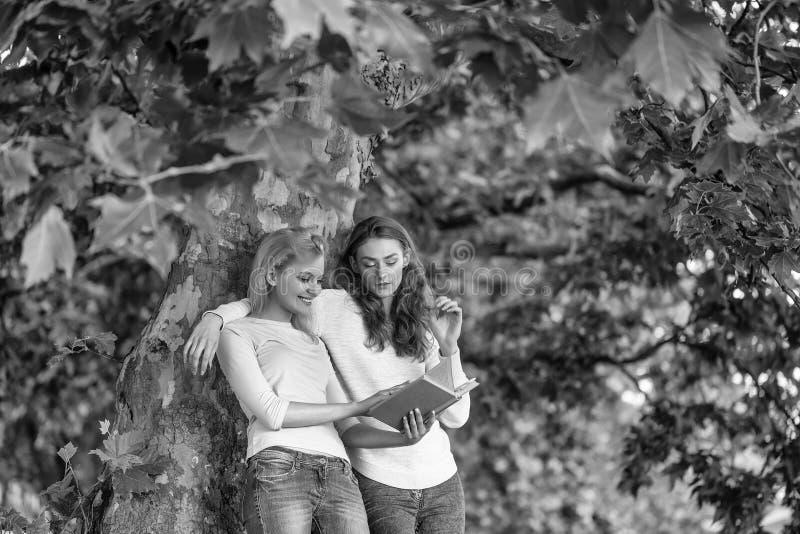 Σπουδαστής φίλων Δύο νέα κορίτσια που διαβάζονται κρατούν στοκ φωτογραφίες με δικαίωμα ελεύθερης χρήσης