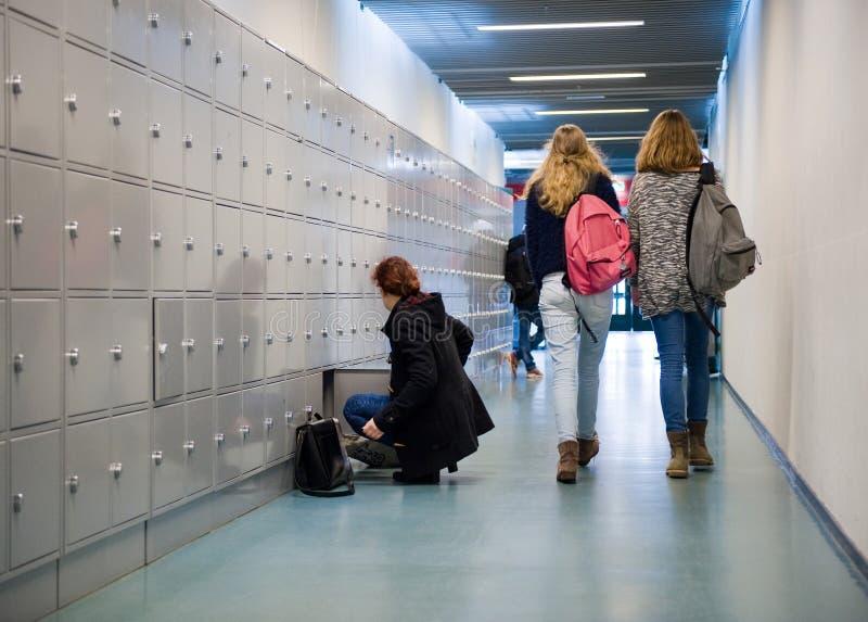 Σπουδαστές στο γυμνάσιο στοκ εικόνα