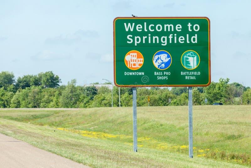 Σπρίνγκφιλντ Μισσούρι, ΗΠΑ 18 Μαΐου 2014 Οδικό σημάδι της υποδοχής στοκ εικόνες