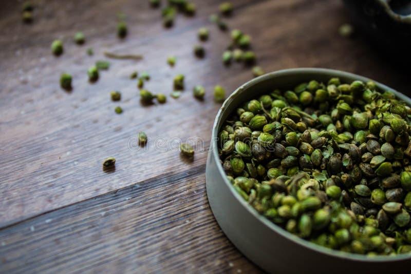 Σπόροι καννάβεων πράσινοι στοκ εικόνες
