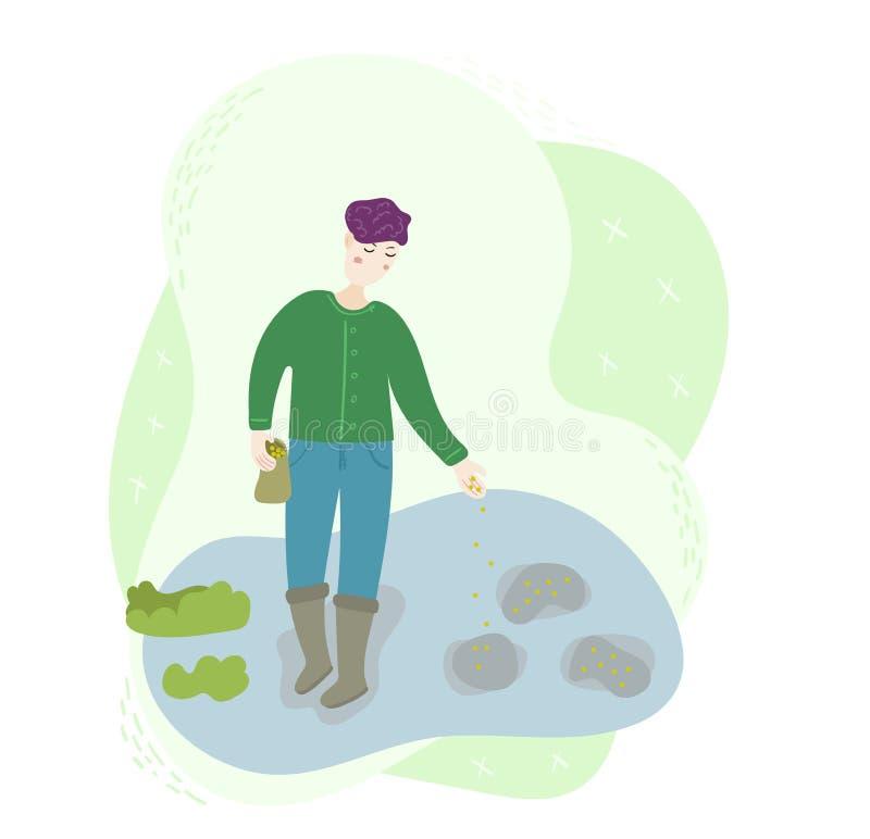 Σπόροι μιας ευτυχείς εργαζομένων αγροτών ατόμων σποράς σε ένα χώμα στον τομέα Σκηνή εργασίας συγκομιδών γεωργίας εποχής Απομονωμέ απεικόνιση αποθεμάτων