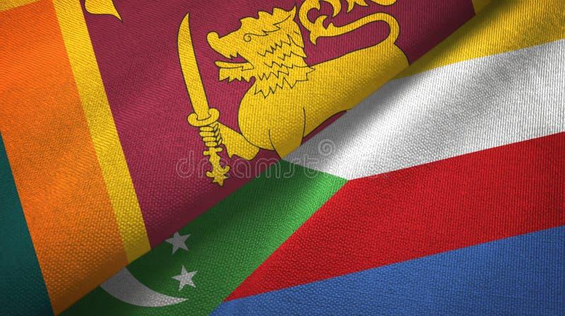 Σρι Λάνκα και Κομόρες δύο υφαντικό ύφασμα σημαιών, σύσταση υφάσματος ελεύθερη απεικόνιση δικαιώματος