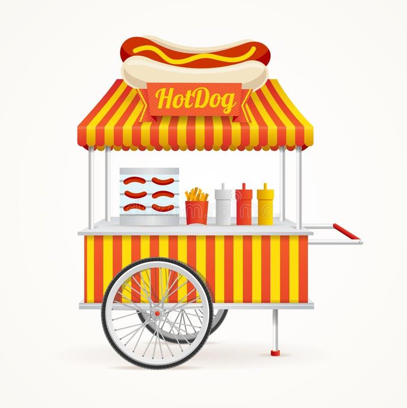 Στάβλος αγοράς οδών χοτ-ντογκ γρήγορου φαγητού διάνυσμα διανυσματική απεικόνιση