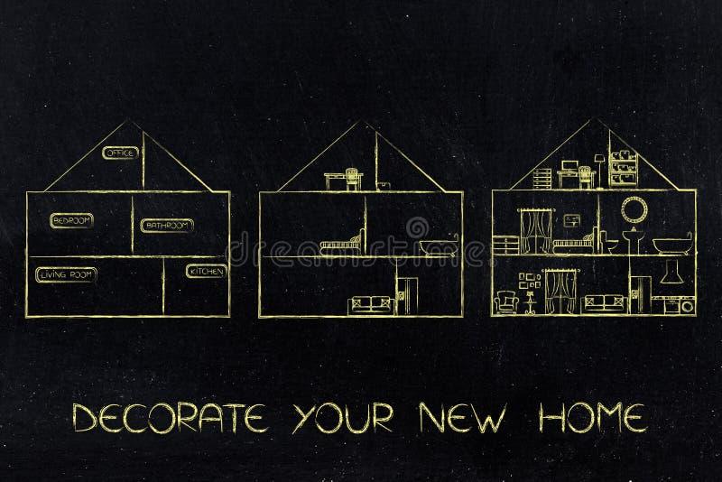 Στάδια ενός σπιτιού από κενό πλήρως εφοδιασμένος διανυσματική απεικόνιση